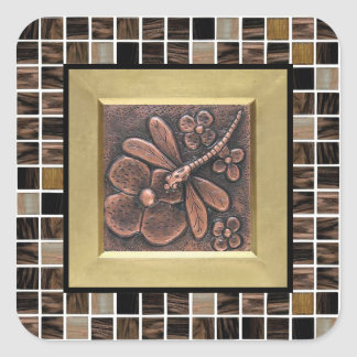 Copper Glass Tiles Square Sticker