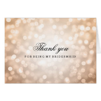 Copper Glitter Lights Thank You Bridesmaid Card