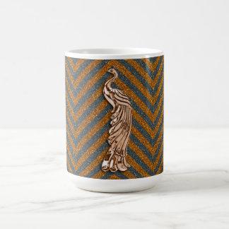 Copper Glitter Peacock Coffee Mug