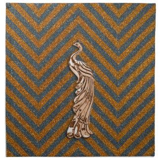 Copper Glitter Peacock Napkin