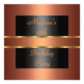 Copper Gold Black 18th Birthday Party Card