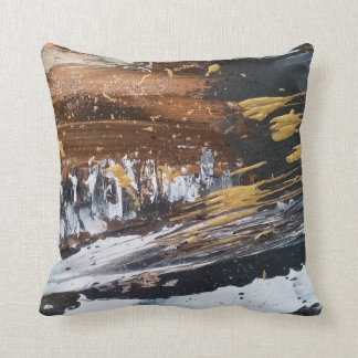 Copper, Gold, Grey, White Long Abstract Art Pillow