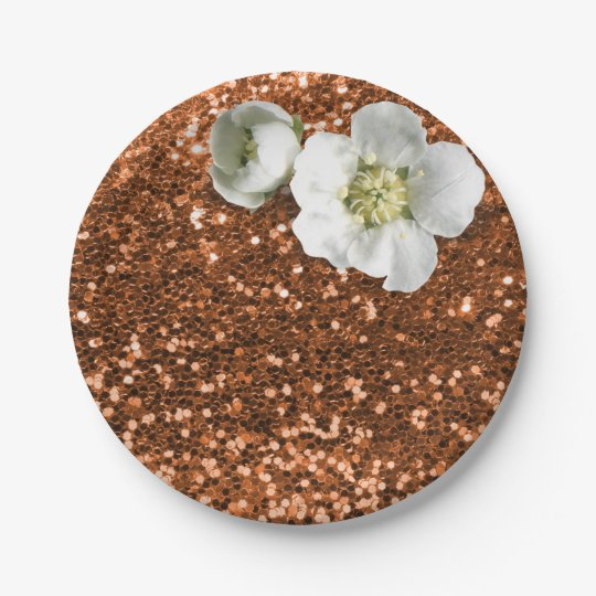 Copper Gold Maroon White Jasmine Glitter Paper Plate