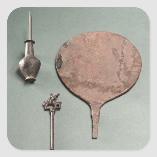 Copper hairpin, collyrium rod with pot and mirror, square sticker
