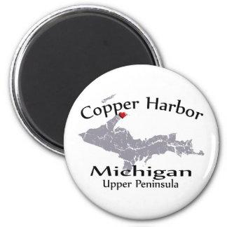 Copper Harbor Michigan Heart Map Design Magnet
