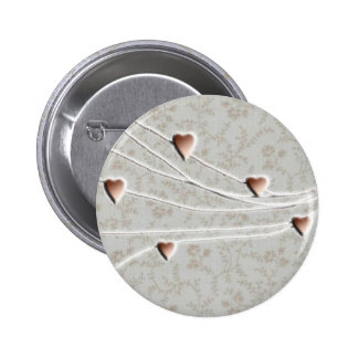Copper hearts 6 cm round badge