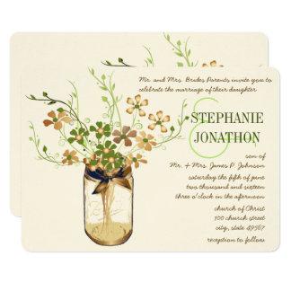 Copper Lime Olive Mason Jar Wild Flower Wedding Card