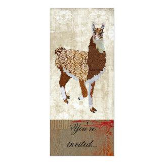 """Copper Llama Ornate Invitation 4"""" X 9.25"""" Invitation Card"""
