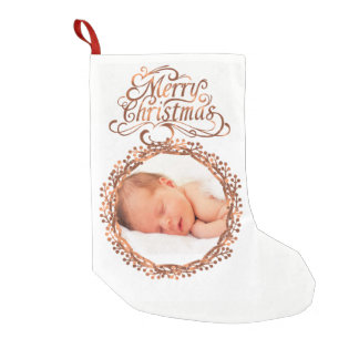 Copper-look Berry wreath & Merry Christmas script Small Christmas Stocking