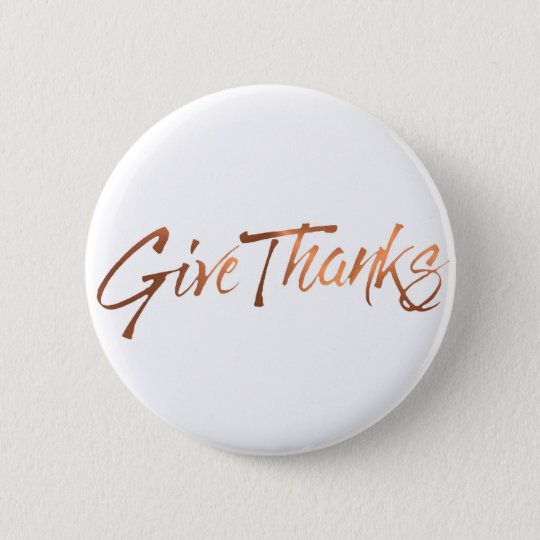 Copper-look Give Thanks script design 6 Cm Round