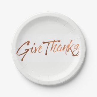 Copper-look Give Thanks script Thanksgiving design Paper Plate