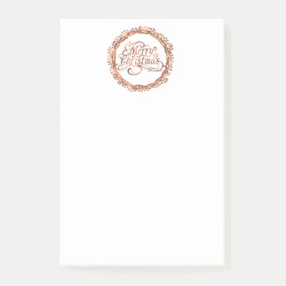 Copper-look Merry Christmas  & berry wreath design Post-it Notes