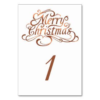 Copper-look Merry Christmas script design Card