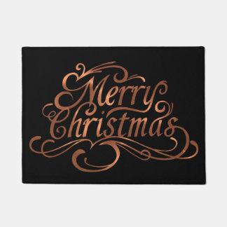 Copper-look Merry Christmas script design Doormat