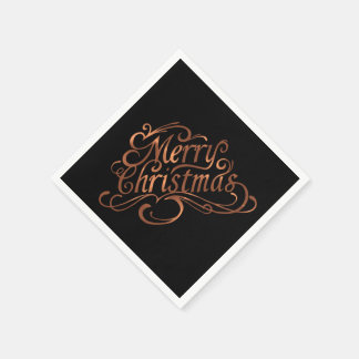 Copper-look Merry Christmas script design Paper Napkin