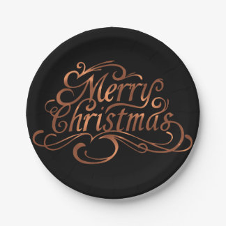 Copper-look Merry Christmas script design Paper Plate
