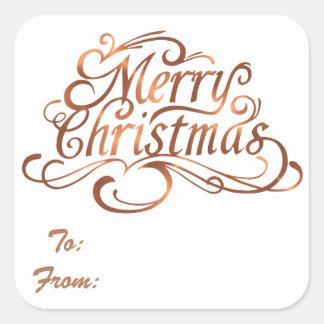 Copper-look Merry Christmas script design Square Sticker