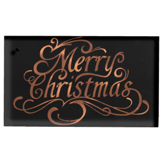 Copper-look Merry Christmas script design Table Number Holder