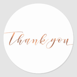 Copper-look Thank You script design Classic Round Sticker