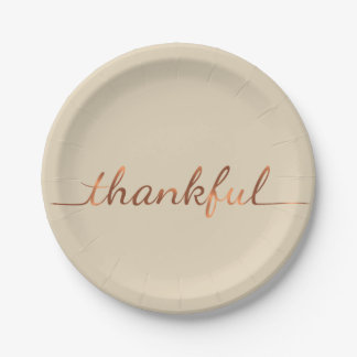 Copper-look Thankful Thanksgiving paper plate