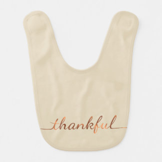 Copper-look Thanksgiving Thankful script & dots Bib