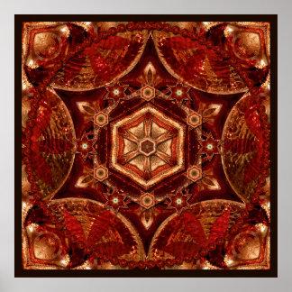 Copper Meditation Mandala Wall Art Print