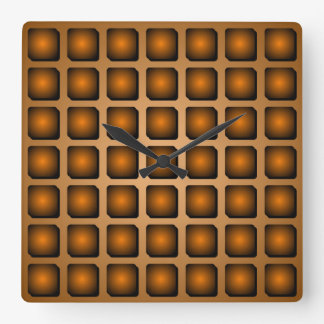 Copper Metal Effect Squares Pattern Wall Clock