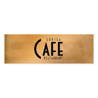Copper Metallic Restaurant Skinny Business Card