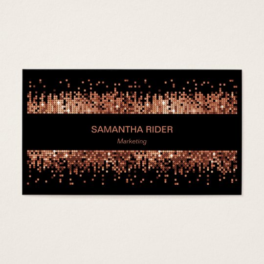 Copper Metallic Sequins on Black Modern Business Card