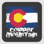 Copper Mountain Grunge Flag Square Sticker