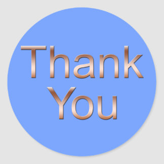 Copper on Blue Thank You Stickers