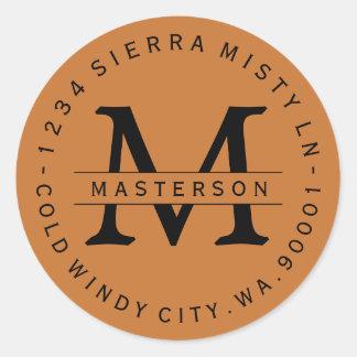 Copper Orange Monogram Circular Address Labels Round Sticker