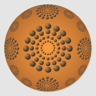 Copper Orange Polka Dot Beads Round Sticker