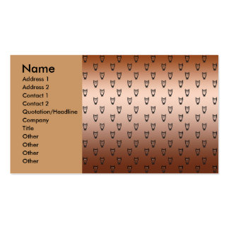 Copper owl pattern business card