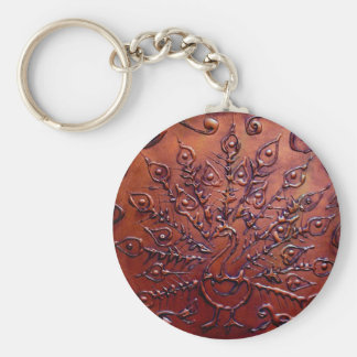 Copper Peacock Key Ring