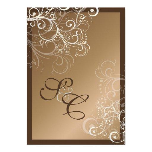 Copper + pearl swirls  Wedding Invitations