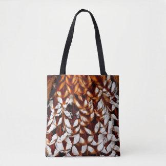 Copper Pheasant Feather Design Tote Bag
