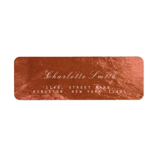 Copper Pink Rose Glass Metal Return Address Labels