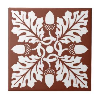 Copper Red Acorn and Leaf Tile Design