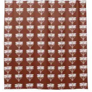Copper Red Arts and Crafts Dragonflies Shower Curtain