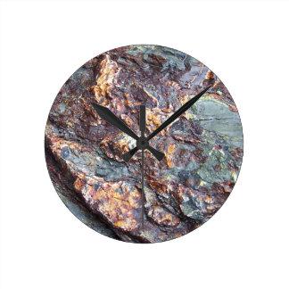 Copper Rocks Round Clock