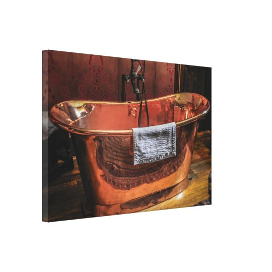 Copper Rolled Top Bath Tub Canvas Print Zazzle Co Uk