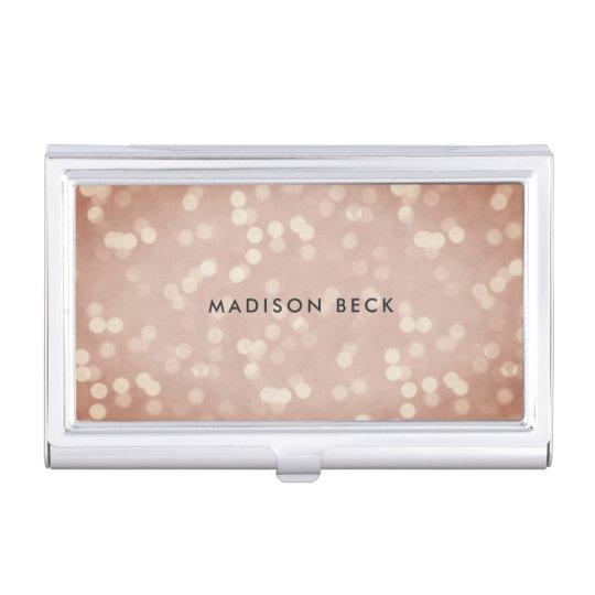 Copper Rose Bokeh Personalised Business Card Holder
