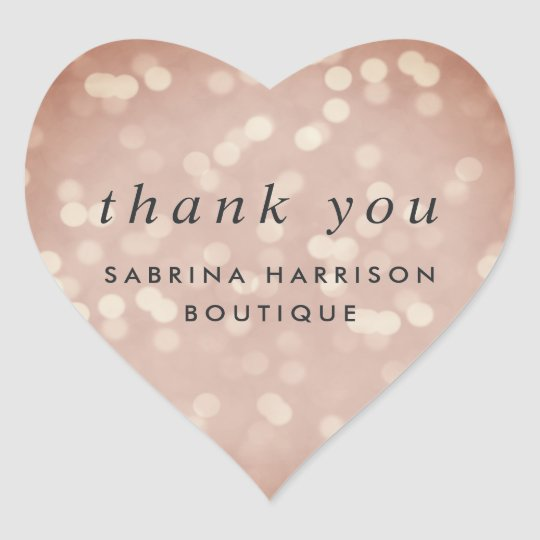 Copper Rose Bokeh Personalised Business Thank You Heart