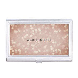 Copper Rose Bokeh Personalized Business Card Case