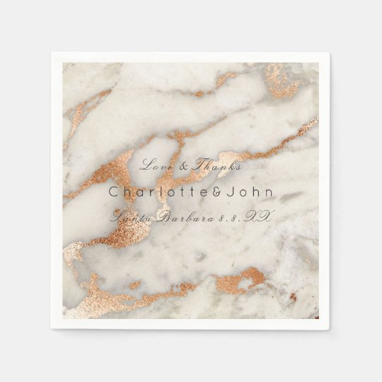 Copper Rose Coral Gold White Gray Marble Party