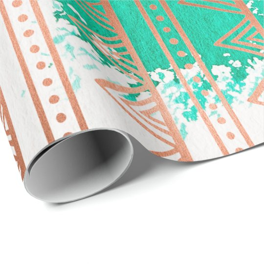 Copper Rose Gold Aqua Tribal Stripes White Paintin Wrapping Paper