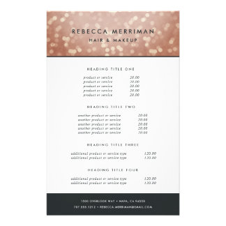 Copper Rose Gold Bokeh Pricing & Services Flyer