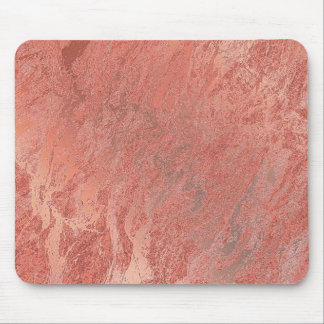 Copper Rose Gold Coral Stone Blush Marble Mouse Mat