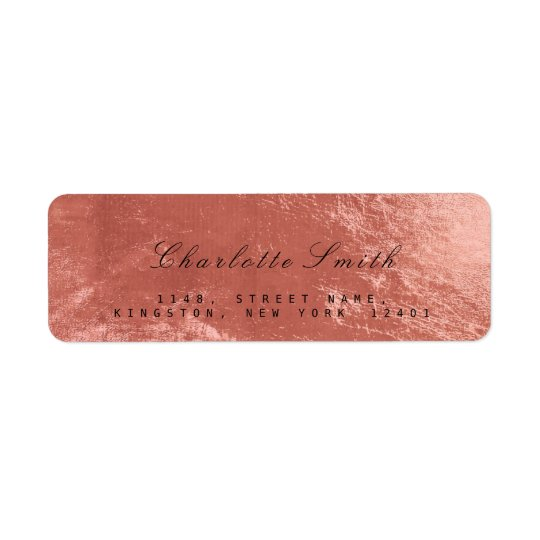 Copper Rose Gold Glass Metal Return Address Labels